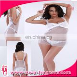 Sexy Women White Mesh Babydoll Lingerie Embroidered Transparent Sleep Wear Sexy Lingerie Wholesale