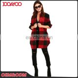 Outdoor Long Sleeve Red And Black Plaid Cotton Girl Coat Bulk Wholesale Custom Woman Jacket