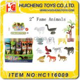 Funny13pcs Eco-friendly PP plastic 2 inches mini 3D fame animal set best promotion gift toys EN71