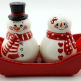 2017 wholesale porcelain christmas snowman pepper and salt set