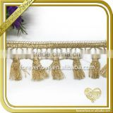 Decorative knitting eyelet lace trim gold tassel for car curtain key chain FLL-027