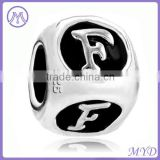 925 sterling sterling silver alphabet letter F beads for DIY charm European bracelet