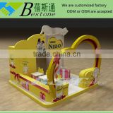 Modern latest wooden furniture designs for baby food nido milk powder shop, food display furniture in mall