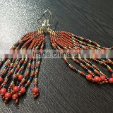 Indian beads long earrings crystal jewelry tribal kuchi jhumka