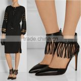 2016 Guangzhou Catwalk Manufacture Women Pointed Toe Stiletto Ankle Tassel Sling Back Shoes Women