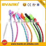 Alibaba express wholesale colorful Nylon Fabric Braided V8 micro Usb Data Cable For Samsung Mobile Phone S2,S3,S4