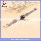 Natural black agate best selling thai silver bracelet 0659S3