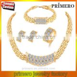 Heavy Indian Bridal Jewelry Set 18k Gold Plated Filled White Crystal Wedding Necklace Bracelet Earring Ring