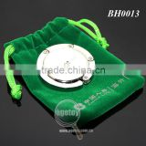 Customized Print Green Velvet Bag Packing Gift Set Round Folding Metal Custom Logo Purse Hanger Hook