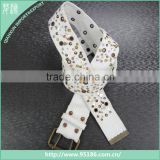 White with sequin universal waist webbing cotton web belt                                                                         Quality Choice