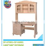 kids bedroom furniture computer desk with locking drawer and bookshelf#SP-HT001+SP-HJ001