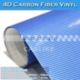 Newest Glossy Jewelry Blue 4D Carbon Fiber Vinyl Car Sticker With Air Bubble Free 1.52x30M