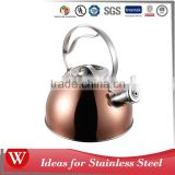 2.7L copper plated non-electric whistle kettle stainless steel tea kettle for all heater