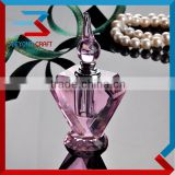Pink Crystal Glass Oil Refillabe Perfume Bottle With Screw Cap                                                                         Quality Choice