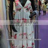 Newest design Fashion and beautiful pretty dress Clothes / Halter Neck Ruffle pattern printed cotton dress