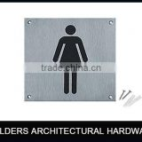 high quanlity 304 stainless steel square female toilet sign plate for door