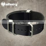 Infantry Military Leather Sport Real Leather Black Belts for Watch