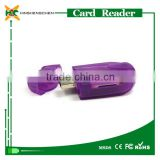 High Speed Transparent car shape card reader support tf sd memory card