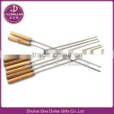 BBQ Stainless steel skewers with wood handle