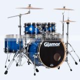 Glamor birch basswood ply lacquer ocean blue finish with evans head 5 piece shell drum kit