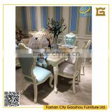 European style white marble top dining table with tufted leather back dining chair for dining room furniture