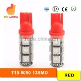 168 194 w5w 5050 smd 13leds t10 led light t10 24v led t10 5w5 car led auto bulb Red color