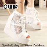 Sexy mesh lace up sandals platform wedge ankle strap sandals black and white lace up new style high heel wedge sandals PM3739