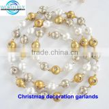 Vintage golden & silver Christmas garland w/ holes ,decorative christmas ball garland supplier