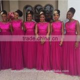 2016 wholesale prom party dress appliqued lace beaded Flowing Hot Pink Long Bridesmaid Dress CWFB2275