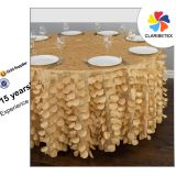 Round Satin Petal Embroidered Wedding Table Cloth