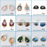 Fashion jewelry gold/silver plated bezel stone natural various design glass gemstone bezel pendant