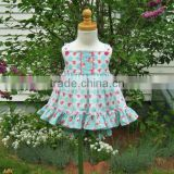 Latest design 3 year old girl dress 100% cotton floral two piece prom baby clothes dress set
