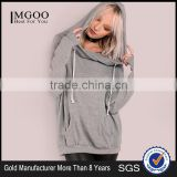 MGOO Women Oversized Sweatshirt Pullover Front Pocket Lightweight Soft Knit Draw String Slouchy Hoodie Heather Grey