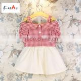 2016 hot summer new children's princess strapless short-sleeved T-shirt + plaid skirt suit kids clothes