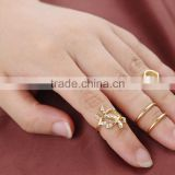 4pcs Gold silver Crystal Plain Above Knuckle Ring Band Midi Ring Leaf Heart Knuckle Rings