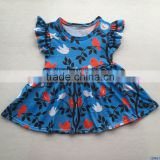 Boutique trees birds printed kids blue dress high quality children girls flutter summer dresses baby cotton clothes outfit