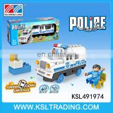 Plastic police bump and go electric car toy with light and music