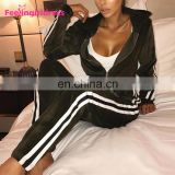 Custom Long Sleevehoodie Women Jogging Sport Wear Green Velour Blank Tracksuit Wholesale