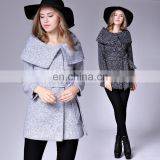 hot sell elegant slim vision long sleeves cloak collar with waist belt woman trench woolen coat