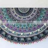 Indian Round Mandala Tapestry Multicolor Pom Pom Fringes Yoga Mat Beach Towel