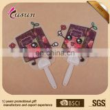 Most popular hand fan with long handle colorful pp plastic hand fan for promotional