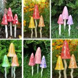 Christmas outdoor garden  ceramic mushroom wind chime European decorative resin household articles handicraft plug-in