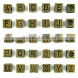 Diy bracelet alloy jewelry accessories The ancient bronze square 7 x7mm 26 English letters beads