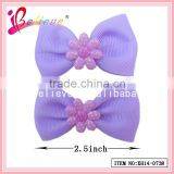 Wholesale korean grosgrain hair bow plastic hair clip for kids
