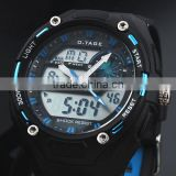 Brand New Mens Rubber Strap Blue Analog Digital Dual Dial Sport Chronograph Watch WS058