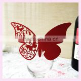 Hot sale new products laser cut wedding party favors glass decoration butterflay wine claim from China factory JK- 17