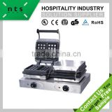 fast food restaurant enamel coating 2 plate electric stainless steel waffle baker