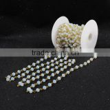 $4/meter by Trade Assurance- opal white faceted crystal quartz beaded stone chains for necklace-Free Shipping