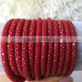 Red Color 5mm Stingray Leather cord Newest Design 100% Genuine Stingray Skin For Fashion Jewelry
