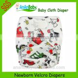 OEM washable newborn hook and loop fastener bamboo baby cloth diapers